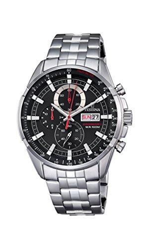 Reloj Festina para hombre con correa de acero inoxidable plateado con esfera negra F6844.4