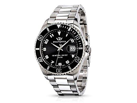 Reloj de acero para hombre esfera negra Philip Watch Caribe Ext Gent MainApps