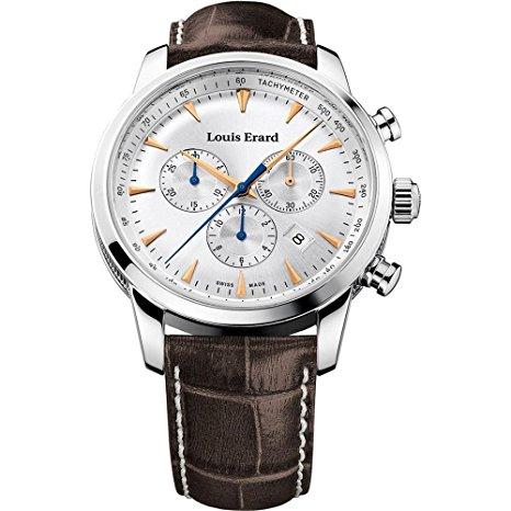 Louis Erard Reloj fino para hombre de 42 mm con cronógrafo y correa marrón Reloj de cuarzo 13900AA11.BDC101