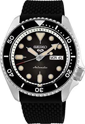 Seiko 5 Sports Suits srpd73k2 - Smoke Black con correa de caucho de silicona